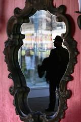the mirror tells the truth (Wackelaugen) Tags: people man reflection hat silhouette canon person photography eos mirror photo googlies wackelaugen