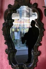 the mirror tells the truth (Wackelaugen) Tags: people man reflection hat silhouette canon person photography eos mirror photo googlies wackelaugen