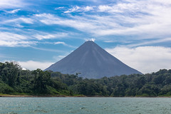 Arenal Volcano (KarlsGalaxy) Tags: trip blue trees summer sky cloud naturaleza sun lake tree nature clouds canon landscape eos volcano boat costarica view cloudy crater eruption active 6d