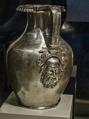 A silver oinochoe (wine jug) embellished with the head of Silenus, tutor of Dionysus, from King Philip II's tomb at Aigai Greek 350-336 BCE (mharrsch) Tags: chicago silver greek illinois ancient wine tomb exhibit jug 4thcenturybce pitcher satyr funerary tutor macedon gravegoods silenus thefieldmuseum servingware philipii thegreeks oinochoe mharrsch thegreeksagamemnontoalexanderthegreat