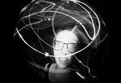 Vicky (iampaulrus) Tags: fisheye fisheye2 filmisnotdead film lomo lomography 35mmfilm 35mm paulfargher paulfargherphotography lighttrails spectacles glasses girl party disco flash bw blackandwhite blackwhite portrait specs toycamera photoexpresshull ロモグラフィー analogue analog