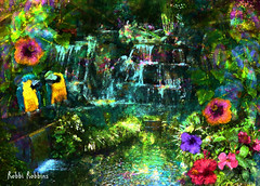 Exotic Paradise (brillianthues) Tags: flowers nature collage photoshop photography waterfall colorful hibiscus tropical photmanuplation