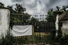Gate for nowhere (coachgodzup1) Tags: clouds gate rusty abandon desaturate d3100 nikond3100