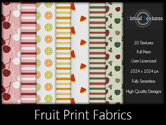 [VT] Fruit Print Fabrics (VirtualTextures) Tags: textures fabrics secondlife stripes striped cotton linen printed pattern fruit summer cherries cherry watermelon apples citrus harvest lemons oranges