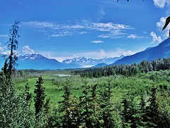 alaska plain (dana.ny) Tags: blue trees sky mountain snow water alaska hiking glacier valley silt