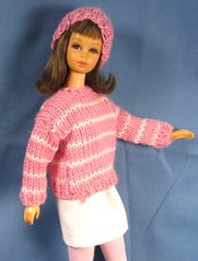 Francie Pink Striped Sweater and Skirt (Debras Closet) Tags: pink white mod doll clothes francie