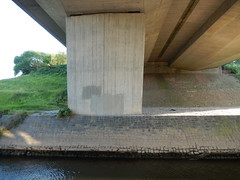 Under the A55, 2016 Jun 05 -- photo 2 (Dunnock_D) Tags: uk bridge england river unitedkingdom britain under underneath dee riverbank roadbridge a55 northwalesexpressway