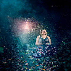 While she sat they watched (Logan Fox) Tags: blue red woman art leaves lady forest reading eyes fear fine ivy flame fantasy conceptual tension latern watched fineartphotography