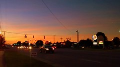 Sunset Lumberton, NC> (dccradio) Tags: city sky food chicken dinner lunch restaurant trafficlight nc northcarolina bbq powerlines eat barbecue slaw intersection greenlight supper shoppingcenter redlight friedchicken utilitypole powerpole bakedbeans businesses barbque electricpole hushpuppies i95 interstate95 electriclines smithfields lumberton texassteakhouse utilitylines fayettevilleroad robesoncounty retailplaza burgerkingsign dollartreesign burkesoutletsign catosign lowesfoodssign
