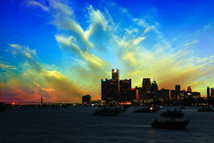 Ruptured Sky (Malena ) Tags: belleisle detroit michigan downtown 313 riverfront river boats sky sunset cityscape
