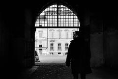 (daniland) Tags: mantova bw biancoenero bn passeggino donna uomo cappotto porta portine arco muro grigio lui him passeggio citt strada piazza palazzo finestre