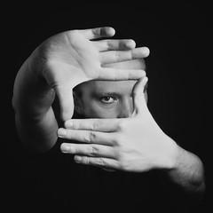 Project 366 - 169/366: Framing (sdejongh) Tags: portrait selfportrait man eye monochrome look contrast project studio focus flash center frame area framing 366 171366