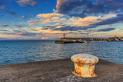 Nothing beats an Irish sky. (EireanClaire) Tags: sunset lighthouse seascape clouds pier bollard wicklowtownireland