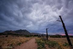 Rainmaker (TreeRose Photography) Tags: ranch trees sunset arizona mountain field grass fence landscape path stormy textures dirt monsoon prescott granitemountain