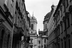Ukraine - Lviv (Lwów) - Polish church (Analog World Thru My Lenses) Tags: ricohxr7 rikenon50mmf14 agfaapx400 ukraine lviv lwów street march 2016 polish church