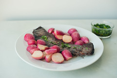 skirt steak with buttered radishes (sassyradish) Tags: cooking radishes beef steak sassyradish