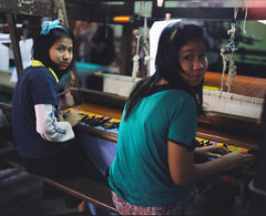 Girls Weaving (The Lost Egyptian Mau) Tags: city trip travel girls people lifestyle myanmar tradition activity    mandalay flim    fujireala100    makina67 weavingworkshop    weavingcottoncloth
