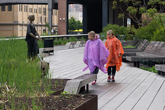 Poncho (CasualCapture) Tags: park nyc newyorkcity morning people sculpture rain manhattan may rainy busted highline 2013 friendsofthehighline frankbenson highlineart humanstatuejessie