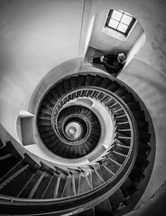 Locked in a downward spiral (50D-Ray) Tags: blackandwhite lighthouse window stairs spiral denmark coast denemarken hvidesande nrrelyngvig middenjutland