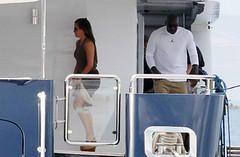 Michael Jordan (Aprokocity) Tags: sunglasses yacht greece wife michaeljordan whiteshirt grc browndress tanpants tanjacket yvetteprieto michaeljordanandyvetteprieto