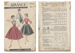 Advance-8064-Suspender-Skirt (kittymeow84) Tags: vintage pattern fifties dress top sewing skirt retro blouse 1940s 1950s custom forties garment kittysdrawings