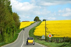 As French as it gets... (CitroenAZU) Tags: france yellow jaune landscape citroen rape gelb 2cv fields frans frankrijk geel landschap rapeseed oilseed colza koolzaad raptfeld