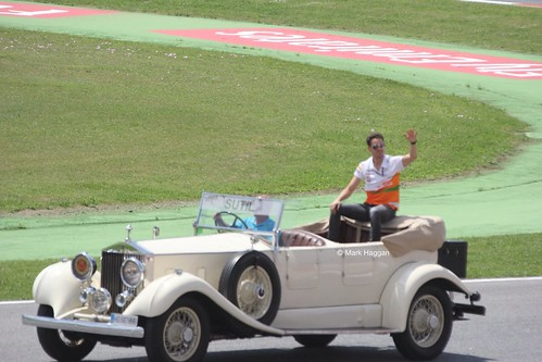 Adrian Sutil in the Drivers' Parade at the 2013 Spanish Grand Prix