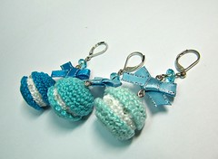 Amigurumi Earrings - Macarons in Blue - Handmade Miniature Jewelry Crochet Dangle Earrings (Ellyne (*)) Tags: miniature handmade crochet jewelry earrings amigurumi macarons shadesofblue handmadejewelry handmadeearrings dangleearrings miniaturejewelry bluemacarons miniatureearrings picmonkey:app=editor amigurumiearrings macaronsinblue