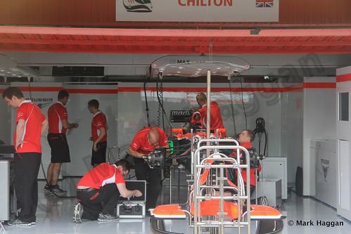 Max Chilton's Marussia pit garage at the 2013 Spanish Grand Prix
