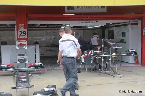 Nico Hulkenberg's Sauber pit garage at the 2013 Spanish Grand Prix
