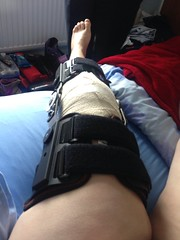 Knee Brace ~ full length! (Sandz2710) Tags: hospital sleepy fixed anaesthetic knee operation brace painful drowsy morphine ligament cartilidge uploaded:by=flickrmobile flickriosapp:filter=nofilter