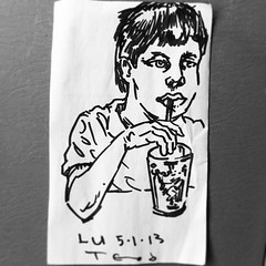 Dinner with LU. #teod #teodtomlinson #portrait #sharpie #face #myson #art #sketch #napkinart (Teod Tomlinson) Tags: art birds painting toys gallery surreal pop oil expressionist raven hive tool impressionist juxtapoz the