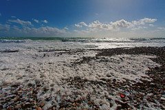 Clouds on the beach (drainuzzo) Tags: sea beach clouds mare stones foam santamarinella