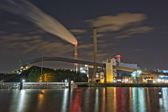 Power Plant (roevin | Urban Capture) Tags: light urban plant west reflection building industry water amsterdam buildings reflections island lights harbor twilight dock industrial cityscape power nocturnal nightshot smoke centre central thenetherlands silhouettes silo fume westpoort