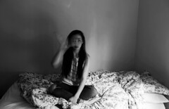 LEMONADE (Jordan E Thompson) Tags: longexposure blackandwhite selfportrait motion girl bed movement bedroom shutterspeed