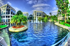 The Water Garden Courtyard (shinnygogo) Tags: california summer water fountain work landscape office pond santamonica july nopeople fisheye oasis socal freehand westside midcity hdr 3x businesspark cloverfield photomatix 2013 thewatergarden