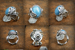 The Morrigan Dragon Magic ring of the moon , aquamarine and Black star sapphire set in handcrafted Sterling silver (leespicedragon) Tags: blue moon art silver dark gold dragon goddess aquamarine ring enchanter moonlight handcrafted crown 14k celtic craftsman triple maiden forged enchanted matron morrigan silversmith cabochon marvinleebillings