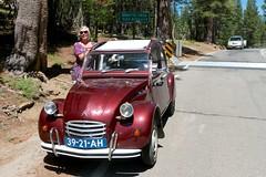 Tamara and dogs at top of Ebbets Pass with our voiture balai close behind (duettonut) Tags: citroen sierra ami 2cv mehari raidtioga