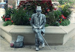 Michigan Avenue (BalineseCat) Tags: street chicago man statue silver michigan avenue performer