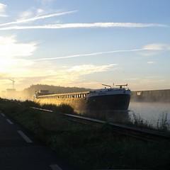 Winschoterdiep (louisamaria) Tags: morning autumn sun netherlands sunrise boat ship herfst nederland groningen schip winschoterdiep binnenvaart binnenvaartschip flickrandroidapp:filter=none