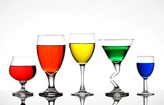 The Usual Suspects (Karen_Chappell) Tags: blue red orange white green glass yellow glasses still rainbow colours 5 five colourful liquid glassware
