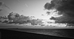 And then there was light... (JennTurner) Tags: bw cloud sun white black beach lines sunrise canon lights pier kent seaside tide coastal deal 6d 24105mm