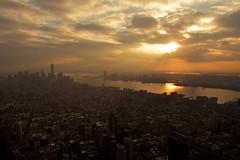 (elzauer) Tags: city nyc newyorkcity sunset sea usa newyork horizontal skyline architecture modern skyscraper outdoors photography cityscape dusk overcast nopeople hudsonriver newyorkstate development crowded urbanskyline traveldestinations colorimage buildingexterior midatlanticusa