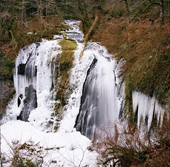 Upper McCord Falls - Frosty (Ray Phung Photography) Tags: winter snow cold 120 6x6 film ice nature water oregon zeiss forest mediumformat square frozen waterfall moss kodak outdoor scenic hike manual columbiarivergorge ektar lenstagger uppermccordfalls iciclecanyonlandscape