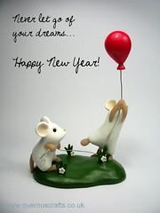 Happy New Year! (Quernus Crafts) Tags: cute balloon mice polymerclay redballoon happynewyear whitemice quernuscrafts