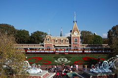 Disneyland from the Monorail (KC Mike D.) Tags: christmas floral train disneyland entrance disney mickey trainstation monorail waltdisney disneylandresort mickeyfloral entrancegates