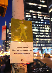Every Move Matters (Alexander Tran   atranphoto.com) Tags: street new york city nyc urban sign night haiku bokeh move every roadside crosswalk matters atran roadsidehaiku atranphoto everymovematters imagineaworldwhereyoureverymovematters