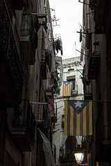 (Ana Rebo) Tags: barcelona city blue red building colors yellow buildings star balcony flag politics catalonia clothes bandera independence estelada independency