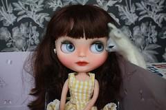Saying goodbye. (umami_baby) Tags: doll sadie teddybear blythe freckles collectible etsy artdoll fashiondoll customizeddoll customblythe umamibaby