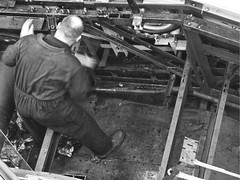 BW Inside Out Escalator Repairs John Lewis Nottingham POB_20140123 (peterob) Tags: nottingham uk monochrome hammer lumix escalator panasonic g5 repair engineer johnlewis micro43